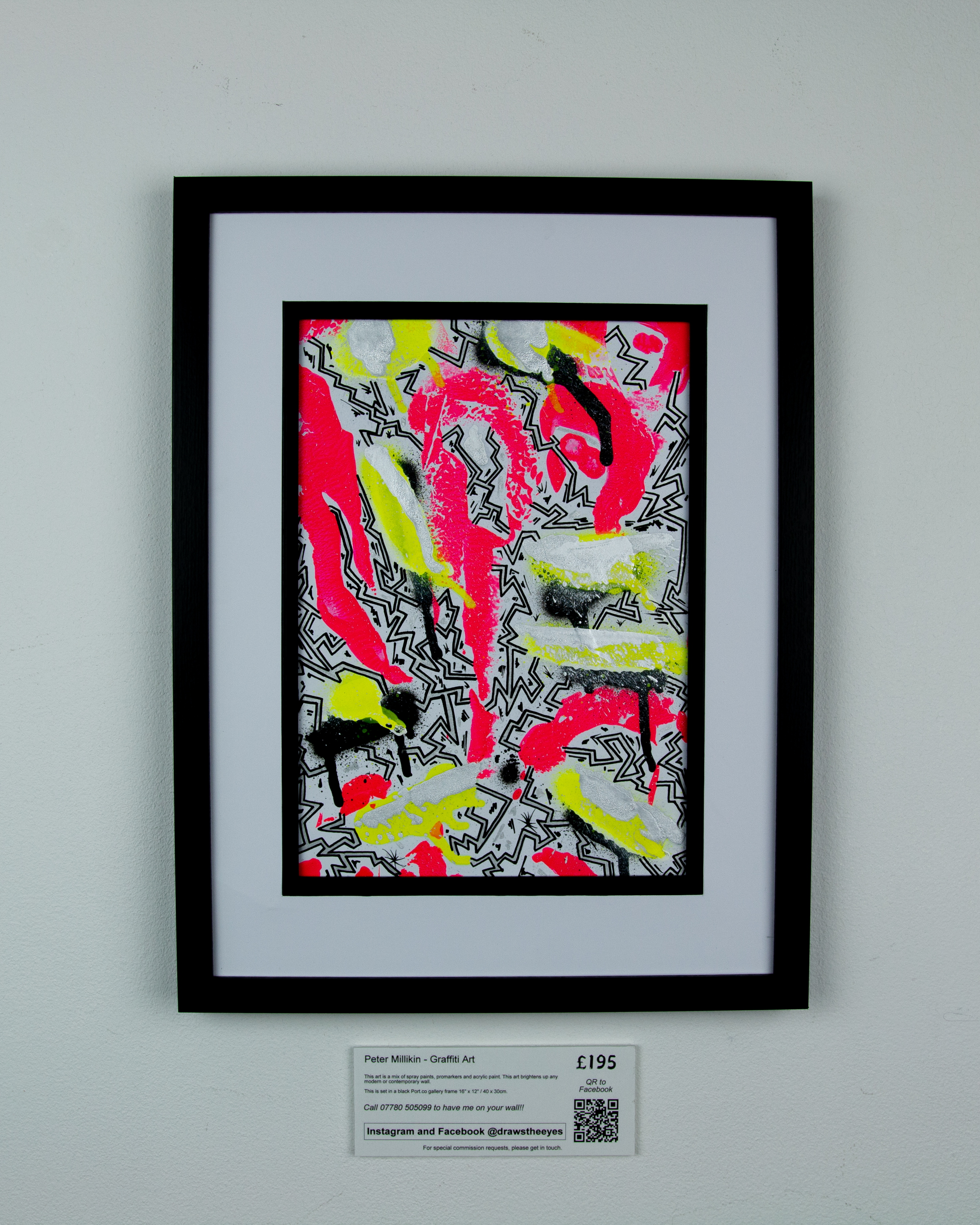 Framed A4 Spray Paint On Card – Marina Vista 01