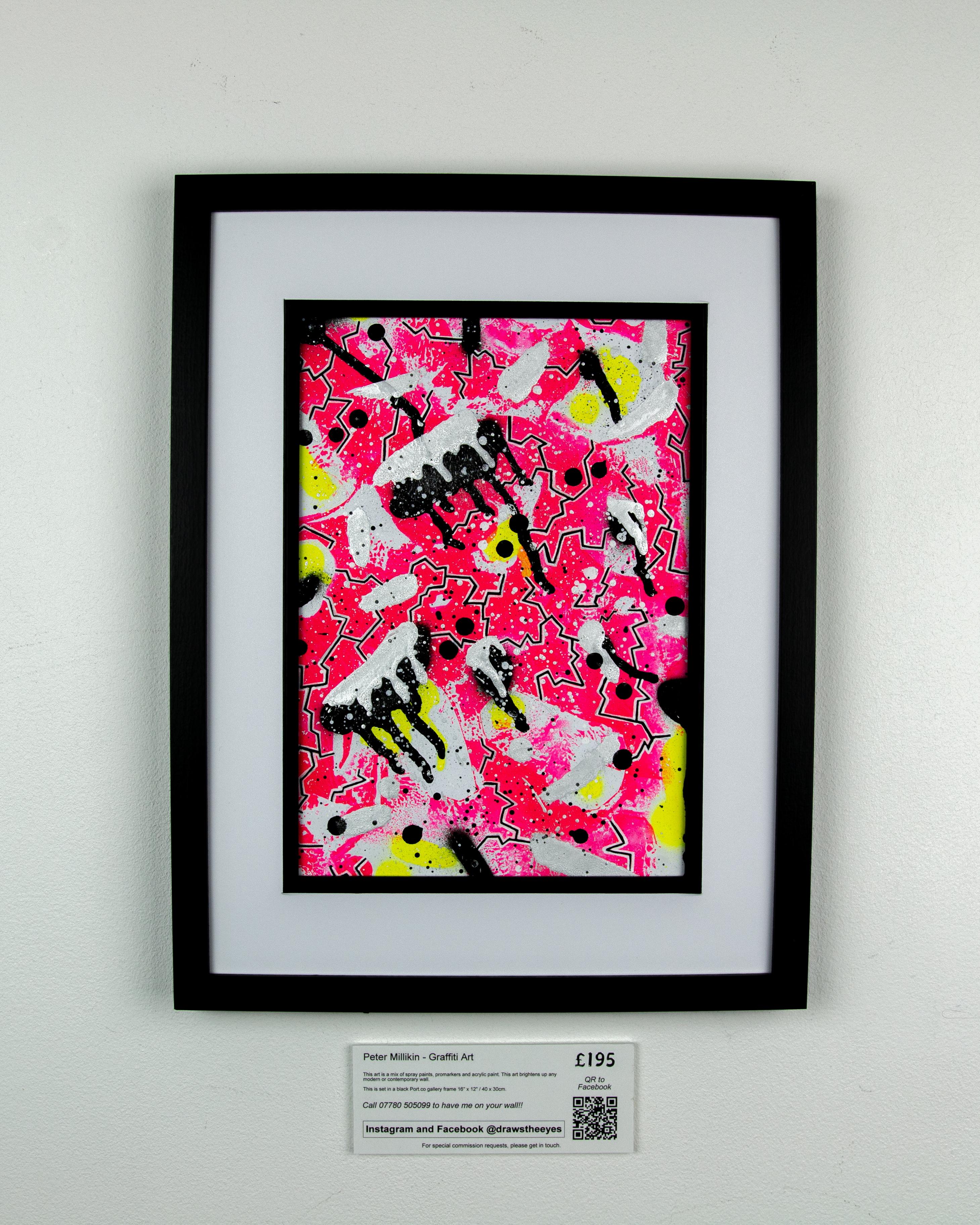 Framed A4 Spray Paint On Card – Marina Vista 02