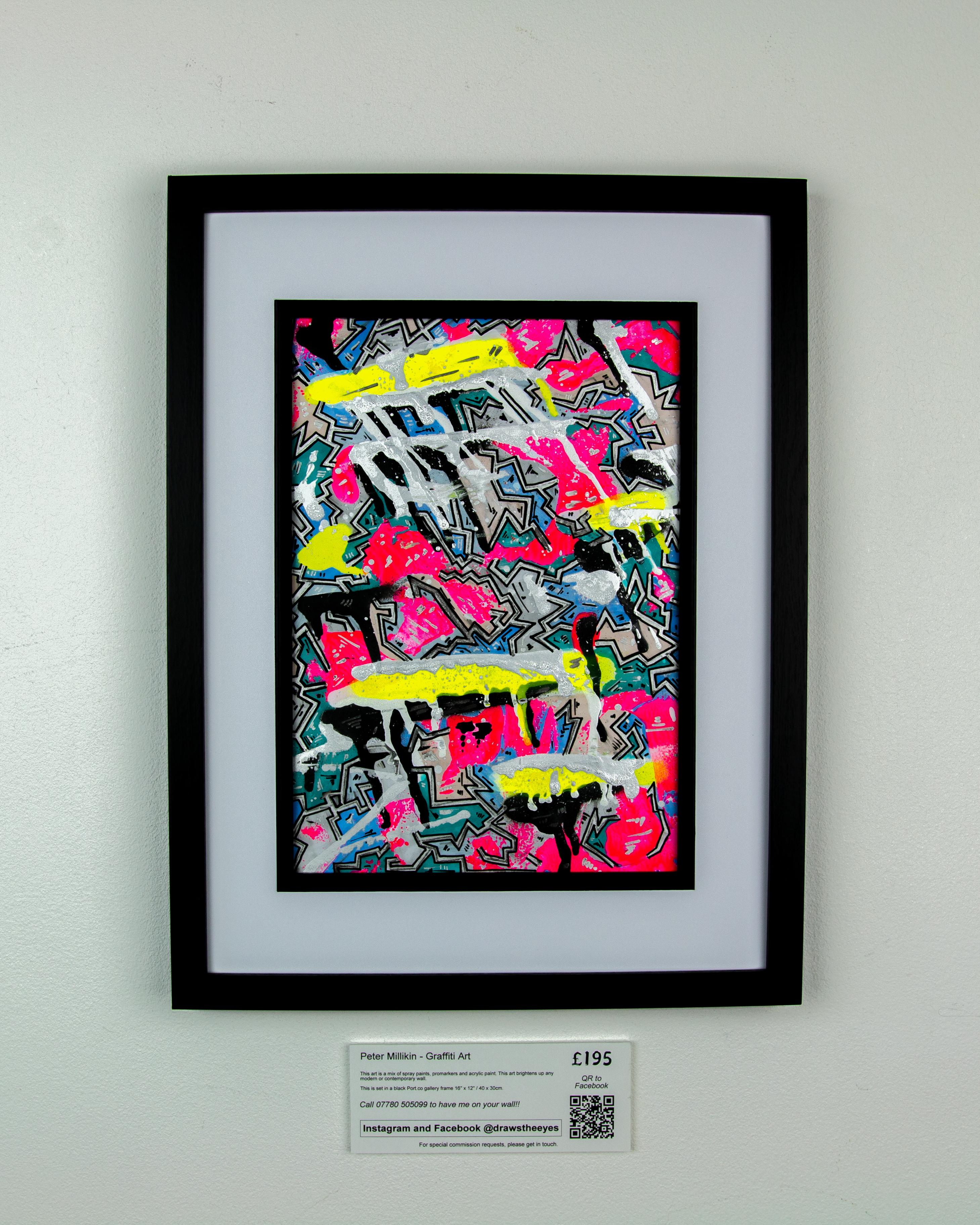 Framed A4 Spray Paint On Card – Marina Vista 03