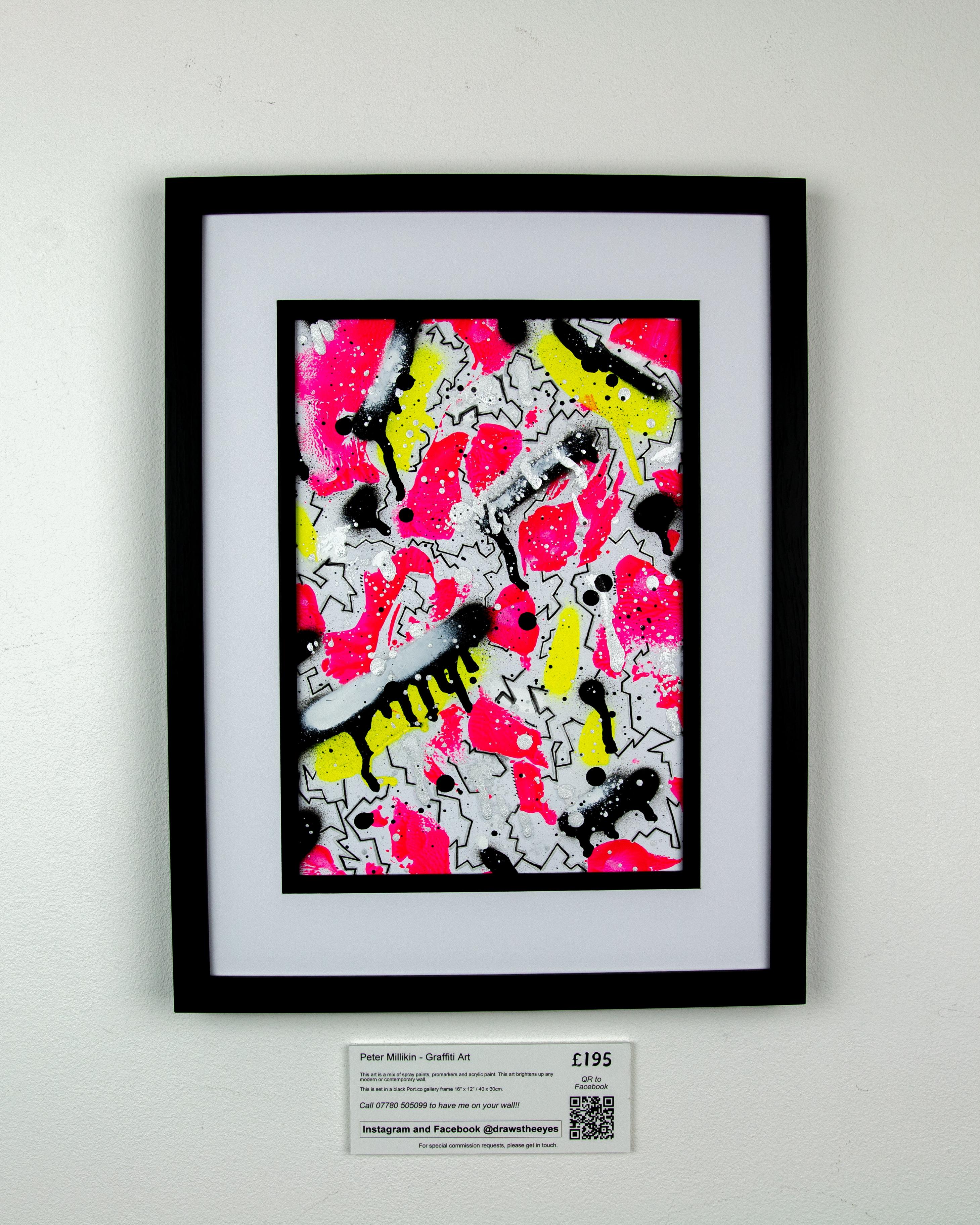 Framed A4 Spray Paint On Card – Marina Vista 04