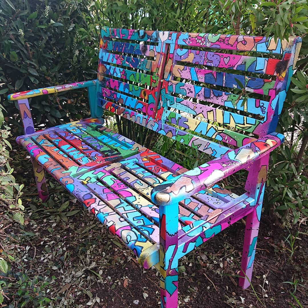 Graffiti Painted Bench – Stay Home Save The NHS