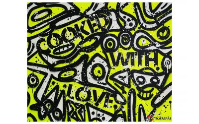 COOKED WITH LOVE – Spray Painted Canvas